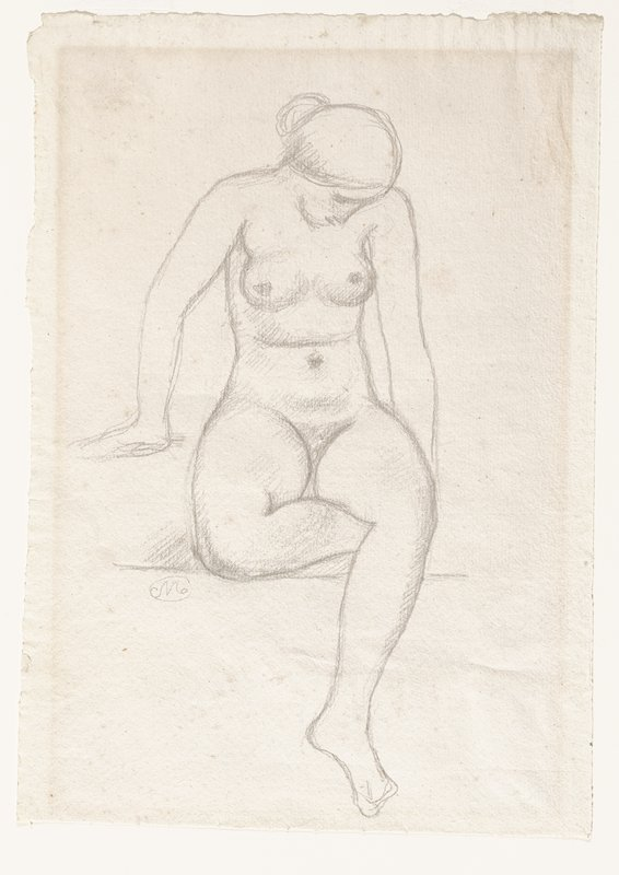 seated nude woman seen from front with her PR foot beneath her PL knee; woman looks down toward PR; hair in a bun