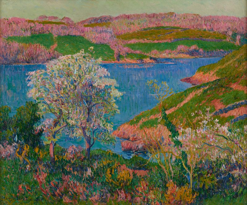 landscape with brilliant blue body of water; pink and green foliage on hills beyond water; tall tree with white blossoms at front left; green trees and foliage, and blue, purple, white and pink foliage, in foreground; pale blue sky