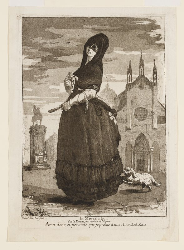 standing woman in profile from PL with her head turned toward picture plane, wearing a black skirt and a black headdress with a veil covering her eyes, holding a closed fan in her PL hand; small white dog jumping at her skirt hems in LRC; building in background at right; sculpture of figure on horseback on a tall pedestal at left