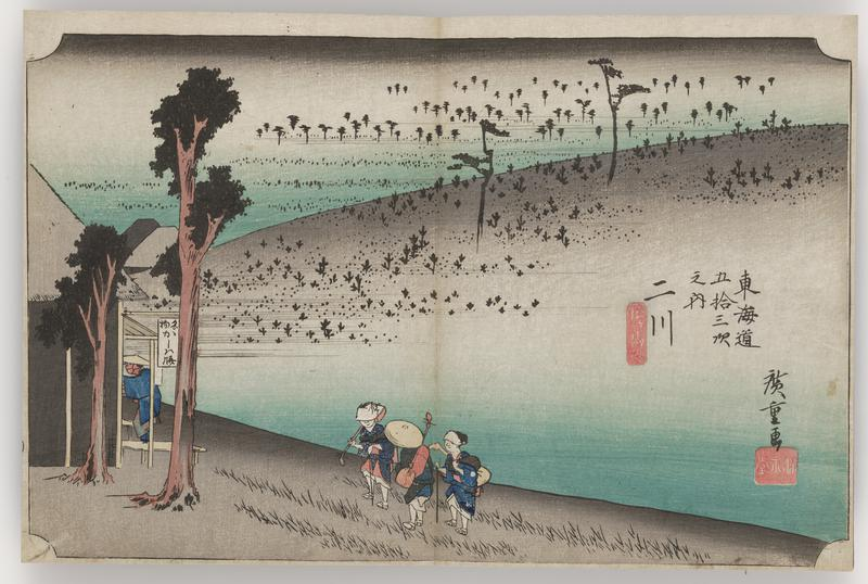 group of three travelers walking alongside sparse hills with tufts of grasses and small shrubs two trees at L; travelers appear to be approaching a building