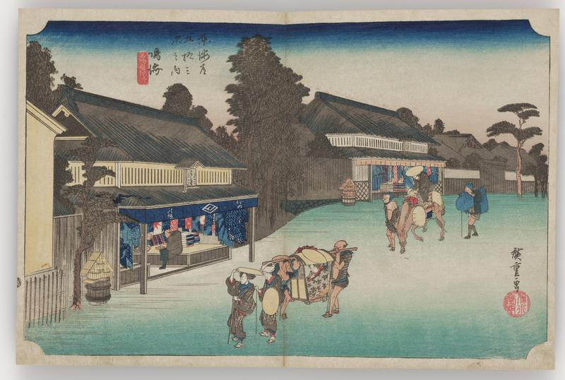 scene with travelers and a palanquin down a wide street; two open storefronts along the street selling vibrantly colored fabrics