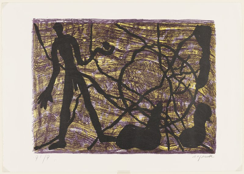abstract image; printed in three colors--purple, yellow and black; purple and yellow ground, with horizontal wavelike lines; black abstracted standing man with a round form above his PL hand at left; black diagonal lines, circle and three biomorphic forms