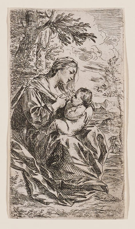 Mary seated wearing draping garment with many folds, outdoors in a landscape with tree in ULC, preparing to nurse nude baby Jesus who she holds on her PR knee with her PL arm