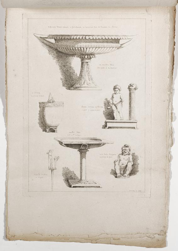 six images (clockwise from top): footed wide cup with fluted decorations and pointed handles, standing putto with a garland and a head/mask on top of a column at right, vessel (?) in the form of a seated nude man with his hands on his knees, rectangular basin on a column with a rectangular base, standing woman dressing her hair accompanied by a child holding a mirror, rounded vessel with relief head and feet in the form of winged figures; 2016.106.4.13-18 received bound together (stitched at top with string)