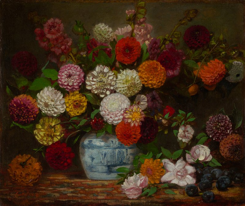 large bouquet of flowers--mostly dahlias--in white, pink, orange and red, in a blue and white round jar; more flowers and plums in LRC