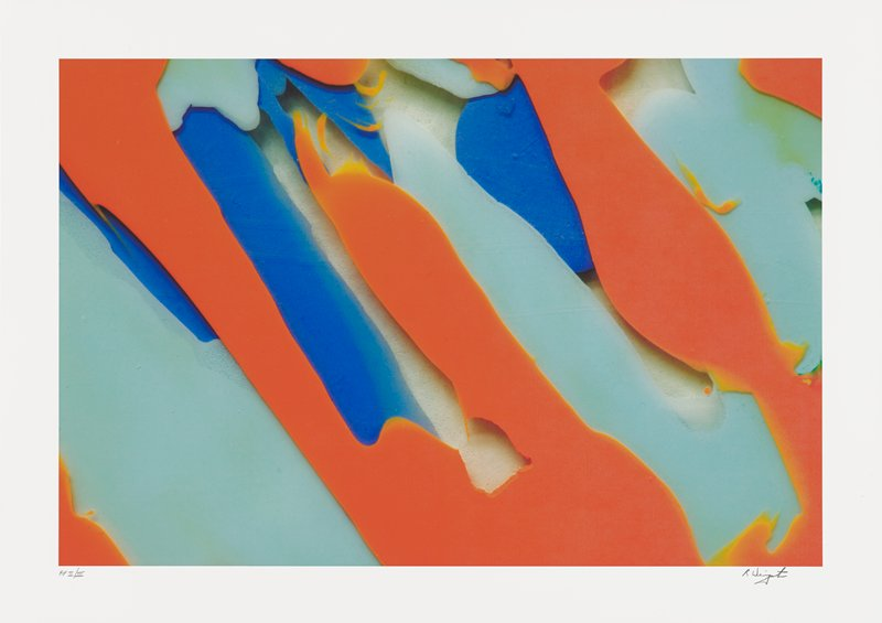 abstract image with diagonal, layered colors--orange over light blue over medium blue on cream ground