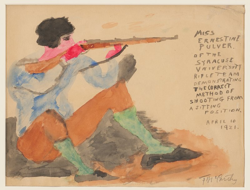 "primitive style; figure at left seated on the ground with knees bent upward, holding a rifle; figure has black hair and wears a blue shirt, brown knickers, green stockings and black shoes; text in black watercolor at right: ""MISS / ERNESTINE / PULVER / OF THE SYRACUSE / UNIVERSITY / RIFLE TEAM / DEMONSTRATING / THE CORRECT / METHOD OF / SHOOTING FROM / A SITTING / POSITION. / APRIL 10 / 1921."""