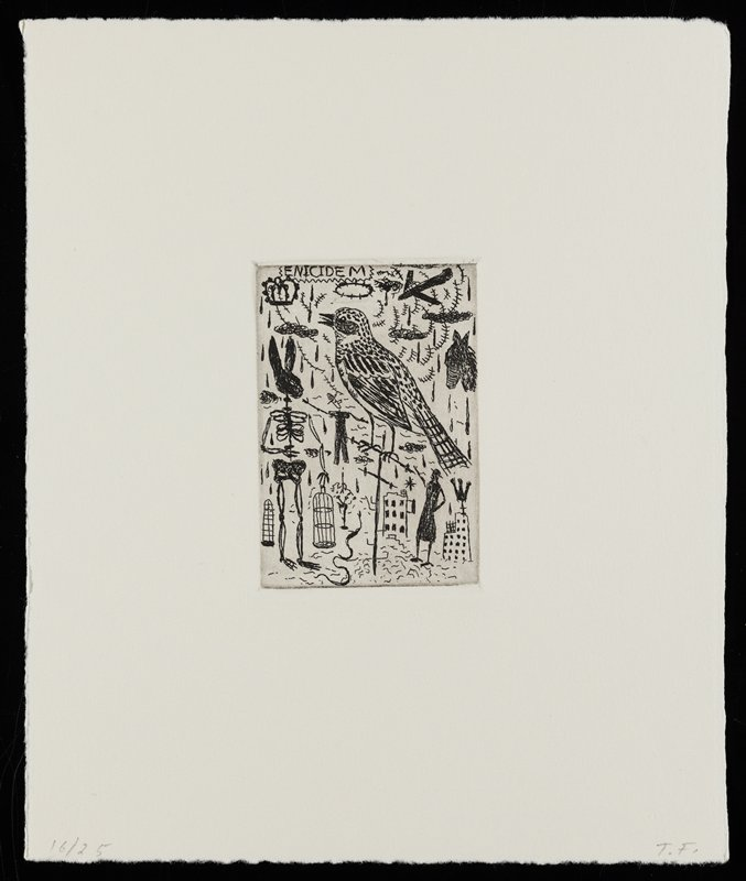 """various imagery; man's body with a bull's head, with a ring in its nose, and wearing briefs with a large belt and black boots; boy in striped shirt, LLC; figure with a skull for a head wearing a hat at right; silhouette of horse's head, ULC; rabbit's head in silhouette on a human skeleton at left; """"THEN"""" in URC"""