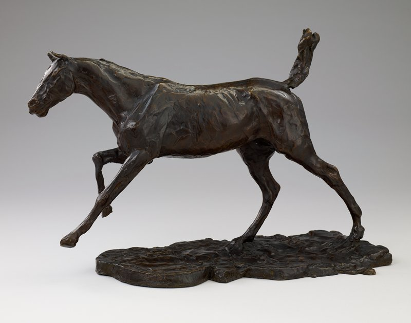 This work was cast in bronze from the model left in Degas' studio after his death in 1917. Terracotta sketch, ca. 1880.