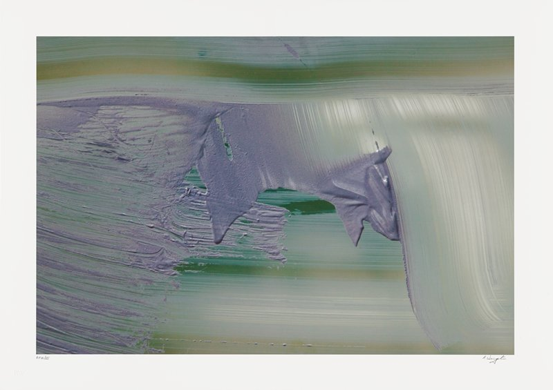 abstract image; purple, green, white and gold pigments resembling brushstrokes in the form of lines running horizontally across image; purple section in center