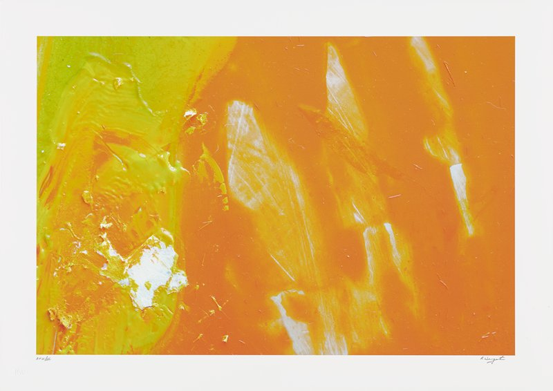 abstract image; bright orange, yellow and white pigments; large orange section on right side with white sections; textured yellow and orange pigments on left; white textured blob in lower left quadrant
