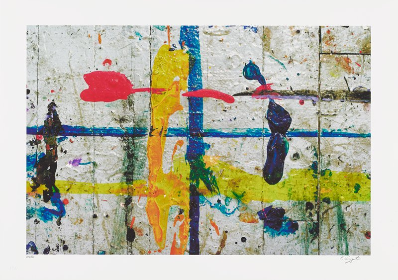 abstract image; white background with blue cross in center; bright multicolored splatters of pigment overlap; bright red blob in upper left quadrant, extending across top center; orange vertical line middle left; yellow line across lower center