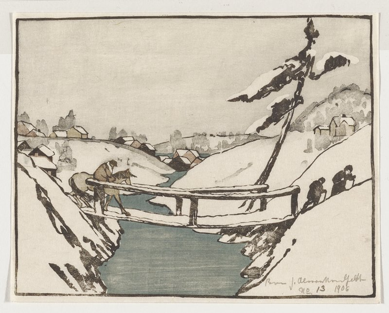 snow-covered landscape with one tall tree at right; sagging bridge in foreground, with two figures walking at right, just beyond bridge, and figure on a horse at left just beginning to cross bridge; houses in background; blue-grey stream