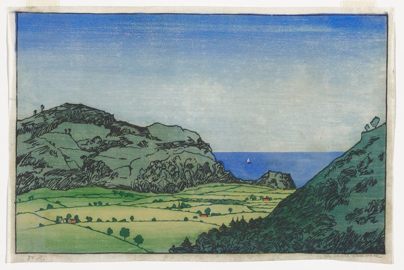 two green mountains--one at right in foreground, one at left in middle ground; valley with farms, church, red barns and other buildings in LLC and center; blue sea at right beyond valley and mountains with one sailboat; low horizon line