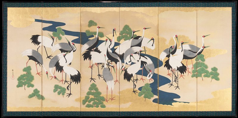 six paneled screen depicting images of a flock of cranes; gilded background with river running diagonally across image behind flock; small, scattered bushes in throughout; untranslated characters in panel sixth from the right in LLQ