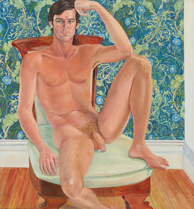 portrait of a nude man reclining on pale green chair; PL foot drawn up onto chair near body; figure is resting his head on PL hand, and PL elbow on knee; heavily patterned floral wallpaper design in background