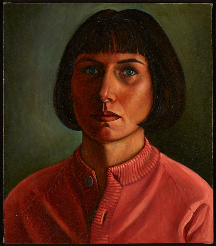 stark portrait of a woman looking slightly to R; hair is dark brown and worn in a bob with bangs; pink sweater or cardigan with top two buttons opened; gray background; wooden slat frame