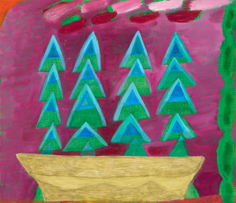 primitive abstract image; four columns of overlapping green and blue triangles emerging from yellow bowl-shaped form at bottom; fuchsia background over green; bring pink and plum brushwork across top; green column at R