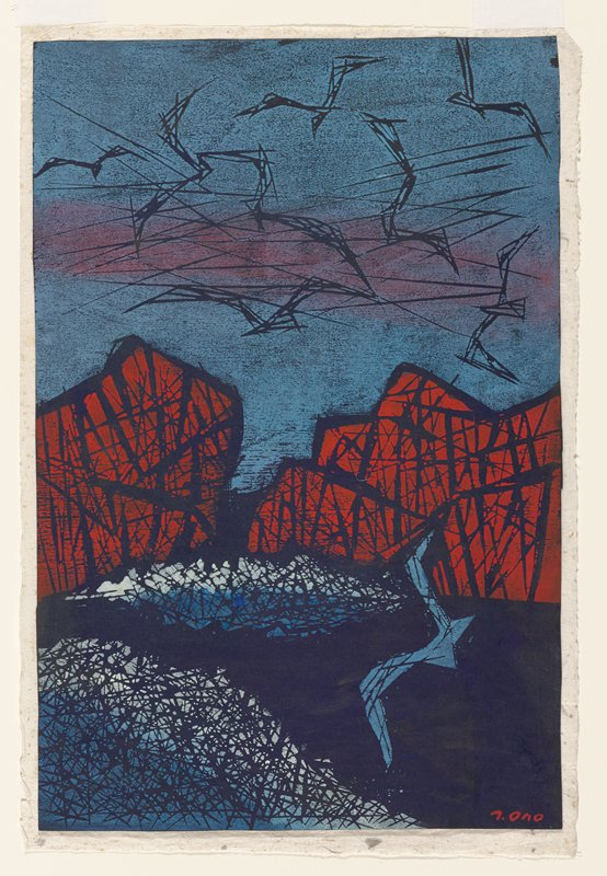 abstracted image of a flock of birds flying against a blue and red sky above mountains; sea below with another abstracted blue bird at LR; smaller land features in blue and white along base of mountains and at LL; overall crisscrossing lines give the image a sketchy style; attached to sheet with inscriptions