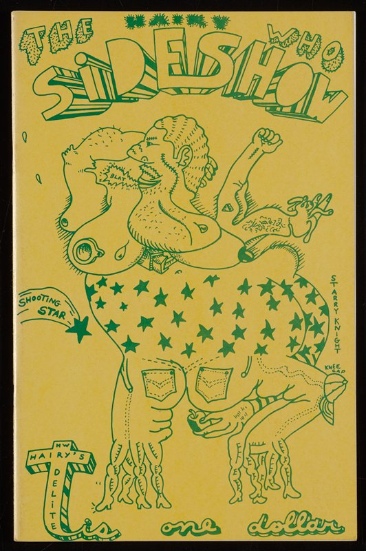 yellow cover with green text and image: obese humanlike figure wearing starred top and jeans; two wide-set legs, each branching off into several other smaller legs with feet; face with stitches and several abstract chins; title at top; cross LLC