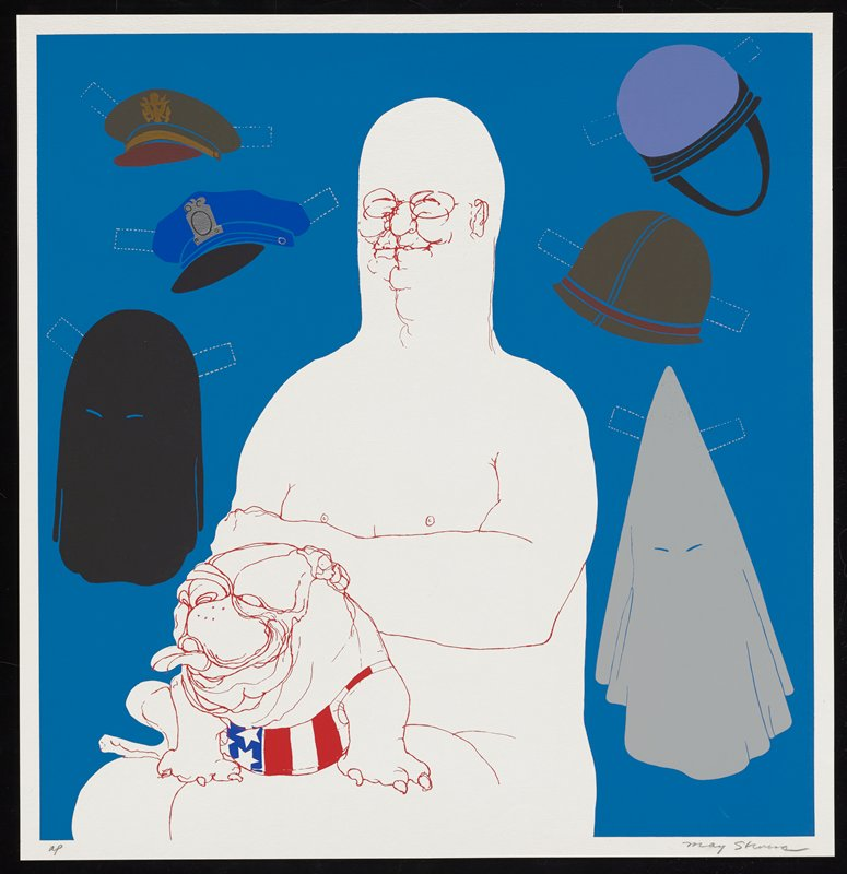 red outline drawing of nude bald man seated with bulldog in lap; bulldog wears jersey with American flag motif; solid blue background with various hats and shrouds rendered with tabs to look like paper doll cutouts