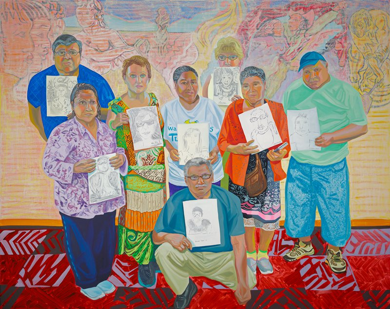 group portrait of seven people all holding pieces of paper with line drawn portraits; man in center kneeling wears tan pants, blue shirt and glasses; first on right is man wearing baggy blue shorts, green shirt, sneakers and blue hat; second figure from right is woman wearing red shirt, blue and pink flowered dress with brown purse at hip; third figure from right is woman wearing light blue t shirt and purple pants who stands behind kneeling man; fourth figure from right is woman wearing green, orange, white and red printed dress, short hear and green bracelet on PR wrist; fifth figure from right is woman in light purple shirt, dark blue pants and light blue shoes; sixth figure from right is man standing in back with blue shirt, gray hair and glasses; faded colorful background depiction various figures; red checkered floor with black and purple designs