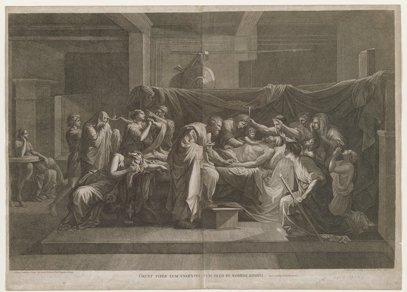 dark, dramatic interior scene: male figure with head bandage laying on a bed surrounded by men and women in various expressions of angst and grief; man at C holds metal container in one hand and reaches towards man on bed; mourners are in classical dress; sheet draped behind bed with shield appearing in background; figure at far L table looking towards scene