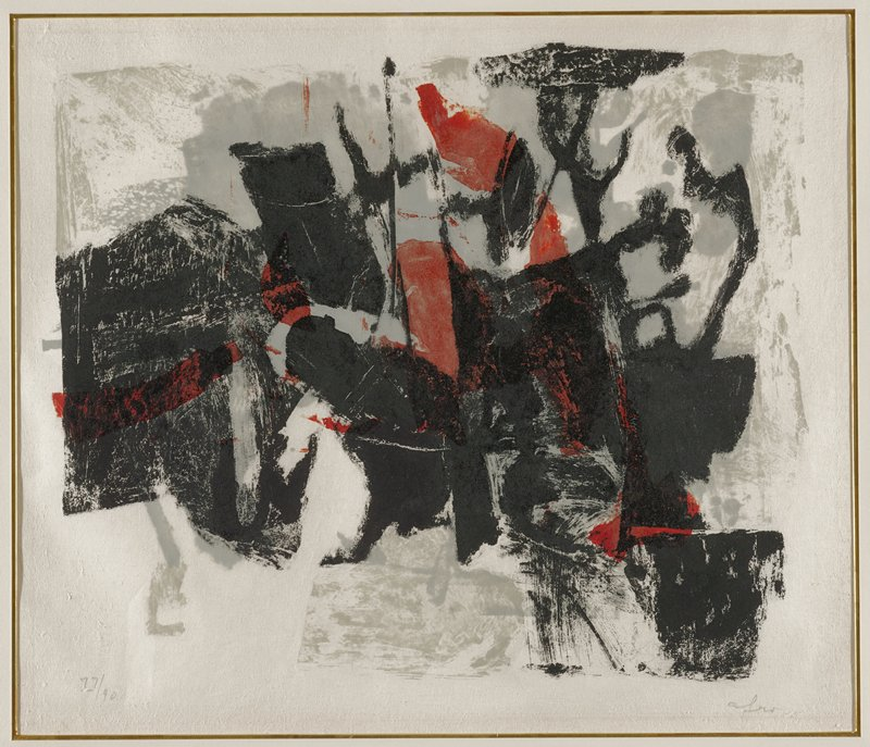 abstract image with overlapping blocky red, black, and gray forms against white background; framed