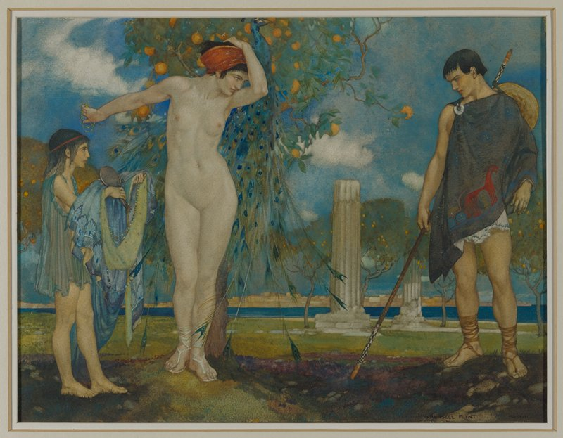 nude female figure at center with a peacock and a fruit tree behind her; a man wearing a grey toga and sandals holding a staff on the R side; a young girl holding the central woman's robe and a mirror standing in profile on the L