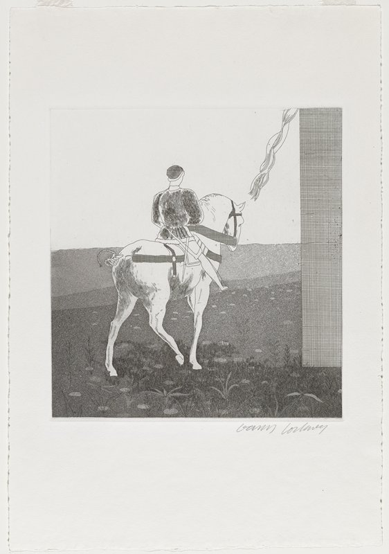 black and white etching; rear view of a man on a white horse in a field; tower or wall along right edge of scene; strands of long hair in URC
