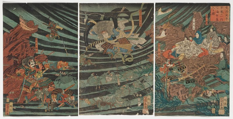 three separate sheets; underwater scene; figure at L riddled with arrows and blood standing in front of large brown rock, wielding sword; figure at C sinking in water, with arrows in body, sinking toward crabs at bottom; family in robes at R seated on rock, looking on; figure in foreground with swords, bloody, charging to L