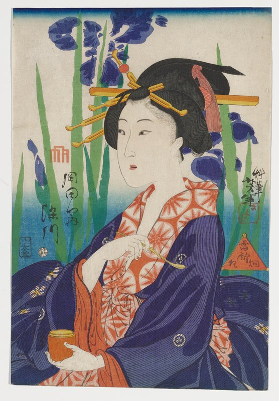 portrait of a woman holding a small yellow spoon in PR hand and orange pot with yellow interior in PL hand; woman wears purple striped kimono with small white flowers inside circles and orange underkimono with starburst design; very large, slightly abstracted purple flowers with leaves and stems in two shades of green behind woman