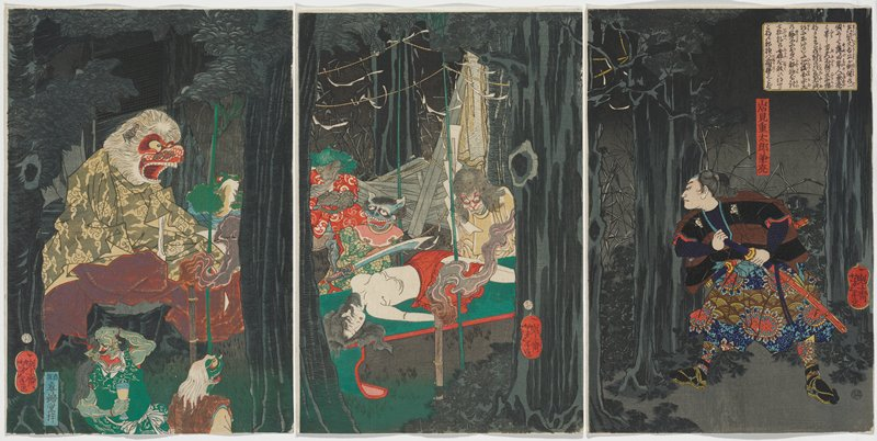 three separate sheets; night scene with dark tree trunks and foliage; man at right with hair in a ponytail, wearing a black and brown striped jacket and patterned skirt with medallions with red centers and green and brown arcs; man looks through trees at scene of demons hovering over a topless reclining young woman on a green and red table; large bamboo with white fur and red face, with open mouth, wearing grey and yellow patterned robe at left, accompanied by other demons