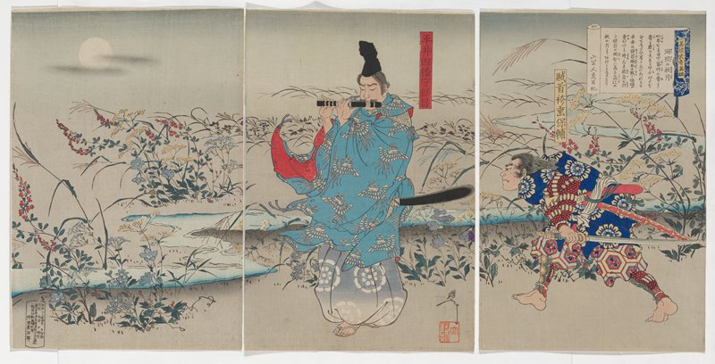 three separate sheets; flowers in grey-blue, red and yellow around a stream; man at center wearing black cap and blue kimono with white birds, playing a black flute; crouching man at right with sword, wearing blue kimono with light blue and yellow flowers; moon and two horizontal grey clouds, ULC
