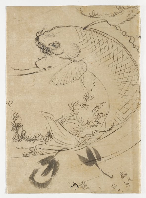 jumping fish, in a backwards C shape; sea foliage above and behind tail and at top right edge; a few broad brushstrokes at bottom; face of fish reworked on back of sheet; unsigned