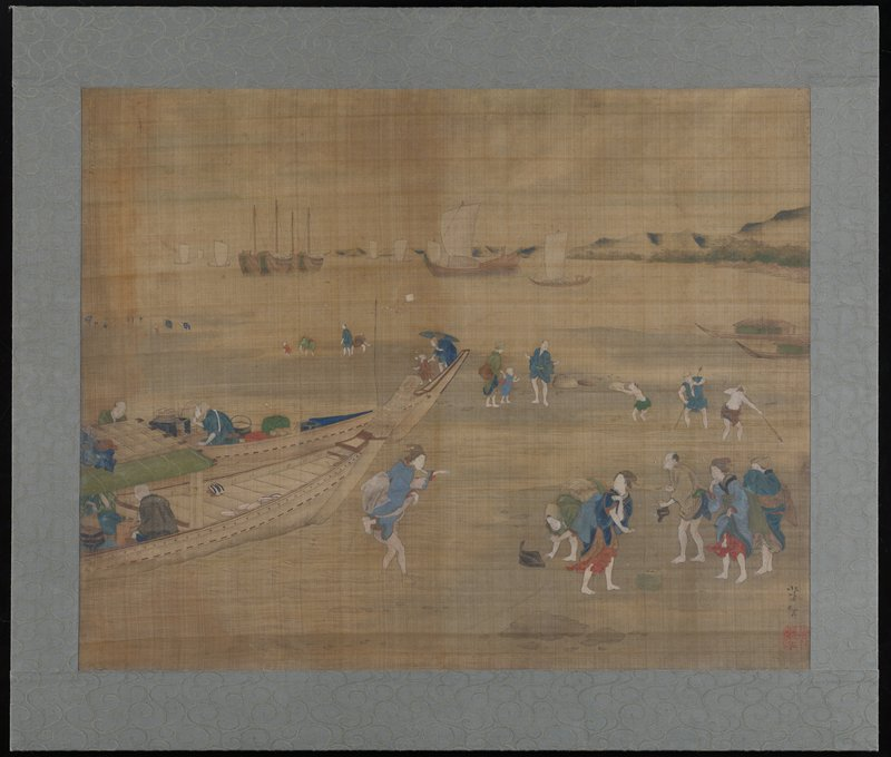 many women, men and children on beach at right, some standing and some digging in sand with their hands and staffs; boat in foreground at left, with a man carrying a woman in blue piggyback out of boat; more boats in middle ground near horizon line; low mountains at right; mounted on foamcore board with grey silk edging