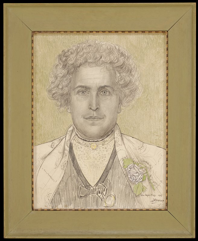 portrait of a woman looking directly out of picture plane, with pulled-back curly hair wearing a white rose on her PL lapel; round gold pin at her neck; green ground; green frame with inner gilt molding