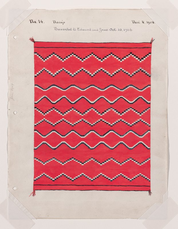 depiction of red textile with blue and white zigzagging horizontal lines, creating diamond pattern