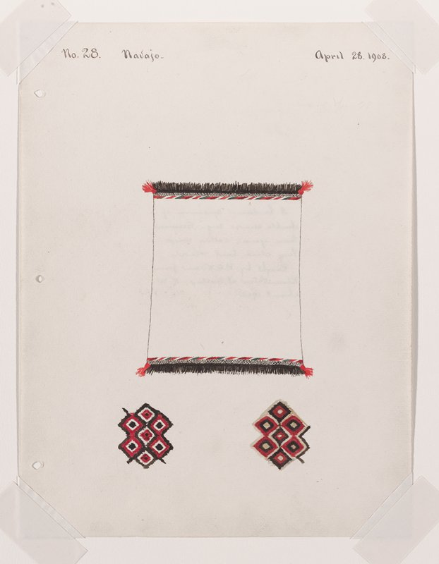 depiction of white textile with black fringe; red, green, white diagonal lines along borders; two diamond designs in lower margin