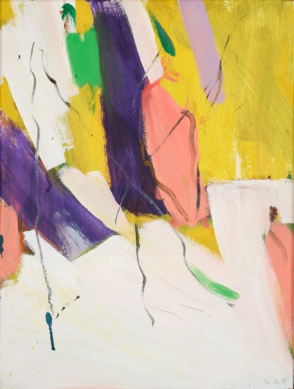 abstract painting in white, pink, yellow, purple and green pigment; large, pronounced brushstrokes in pink, purple, white, yellow and green in the upper left quadrant; streaky yellow brushstrokes in upper right quadrant; large white brushstrokes on bottom; grayish-blue squiggly lines overlap colored sections