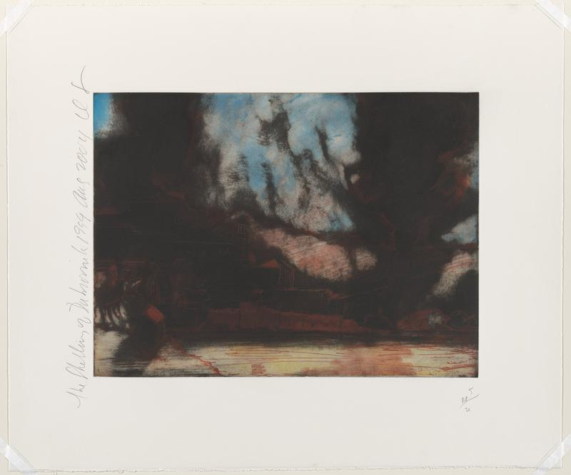 abstracted image with sketchy buildings in rust on black; creamy white with red at front; black clouds in sky, with some blue sky and clouds at center, ULC, and right edge