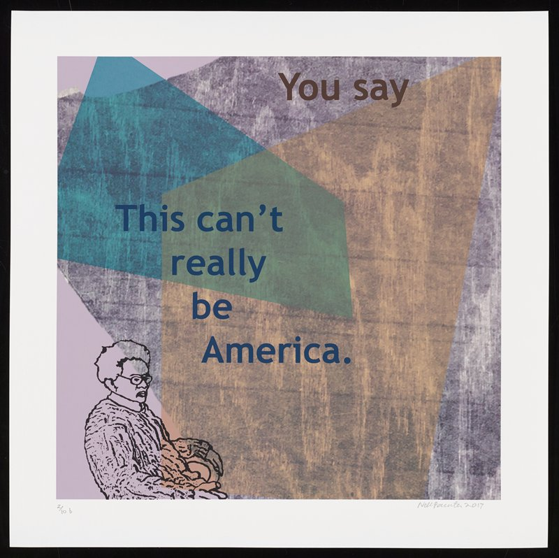 cartoonish elderly figure seated on chair facing R near LLC; grainy wood-grain background in gray, with overlapping transparent peach and blue shapes; text reads: You say / This can't / really / be / America.