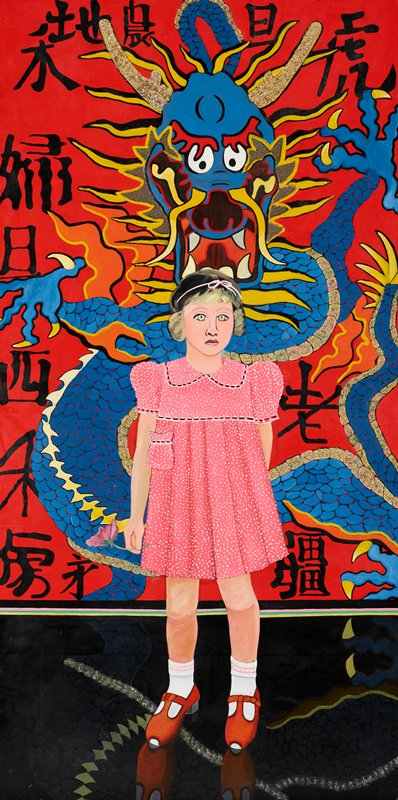 standing blonde little girl with green eyes, wearing a pink dress with white polka dots, pink hair ribbon, white socks with pink trim, and red shoes, and holds a purple flower in her PR hand; girl has blank facial expression; girl stands in front of a wall mural with a blue and yellow dragon against a red ground with glitter highlights against a red ground with bold black Chinese characters; shiny black floor