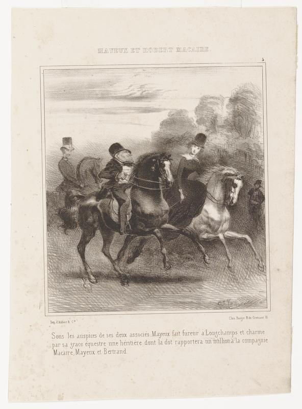 """black and white lithograph with illustrated image of figures on horseback; two central figures are an older male figure on the left and a younger female figure on the right; another male figure in a top hat and on horseback in background on center left; faint standing figure on center right; wooded trees in URQ; text in French across top margin reading, """"MAYEUX ET ROBERT MACAIRE"""", as well as a block of French text on the bottom"""
