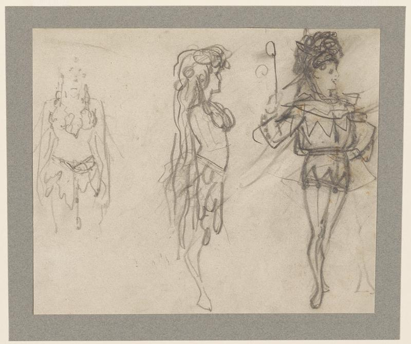three loosely drawn figures- left figure is partially complete, with torso, part of head, arms and top of legs drawn; center figure is in profile, facing right, wearing a head dress, with long flowing veil and medium length, loopy skirt; right figure wearing a harlequin costume, holding a raised rod in PR hand