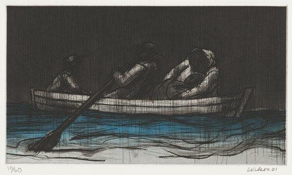 four figures in a rowboat, including a reclining person being held by figure at right; black rain falling; grey sky; blue water beneath boat fading to grey at bottom edge of image