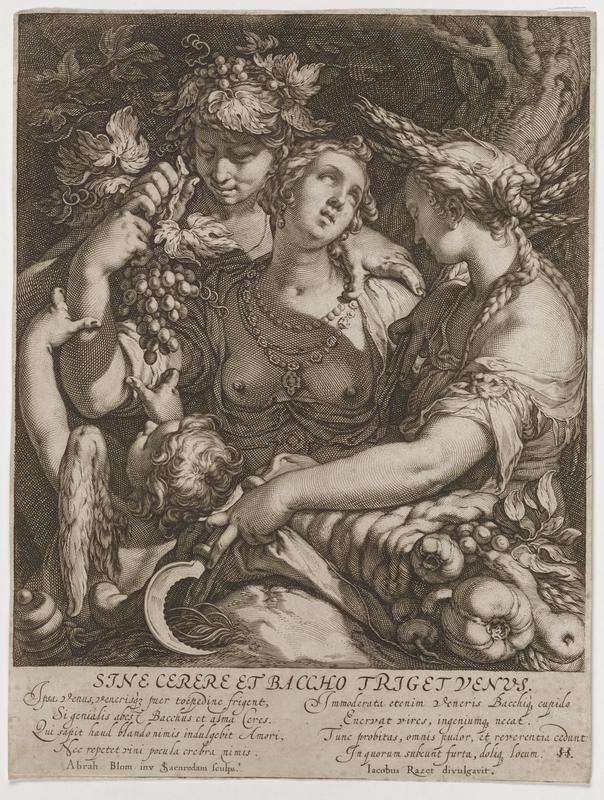 torso and head of bare-breasted woman at center, with curly updone hair, wearing three necklaces, with her garment open in the front, looking upward toward PL, with her eyes drawn upward; another woman at right holding a small sickle in her PR hand draws up a cloth over central woman's lower body; woman at right has braids and wheat in her hair; putti in LLC; youth behind woman with grapes and grape leaves in his hair, holds his PL hand on central woman's PL shoulder and holds a bunch of grapes in his PR hand, over central woman's PR upper arm; text at bottom