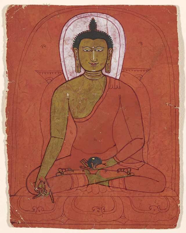 drawing of a male figure seated on a lotus throne, with gold skin and red palms and soles of feet, holding a black object in his PL hand; red ground; 16 lines of text, in red, on back
