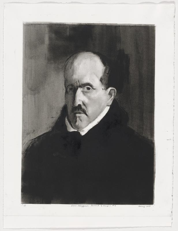 portrait of a balding man with dark hair and mustache; wearing a dark cloak with a high collar and white trim; shadowed background