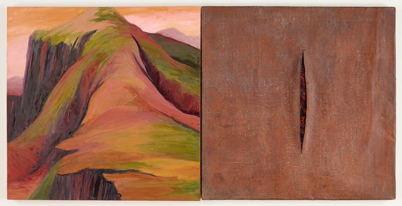 diptych; left panel: painting in browns, greens, salmon of barren mountainous land forms; right panel: panel in relief with vertical slit at center; mottled brown; row of round blue gems and sparkling copper colored material inside slit